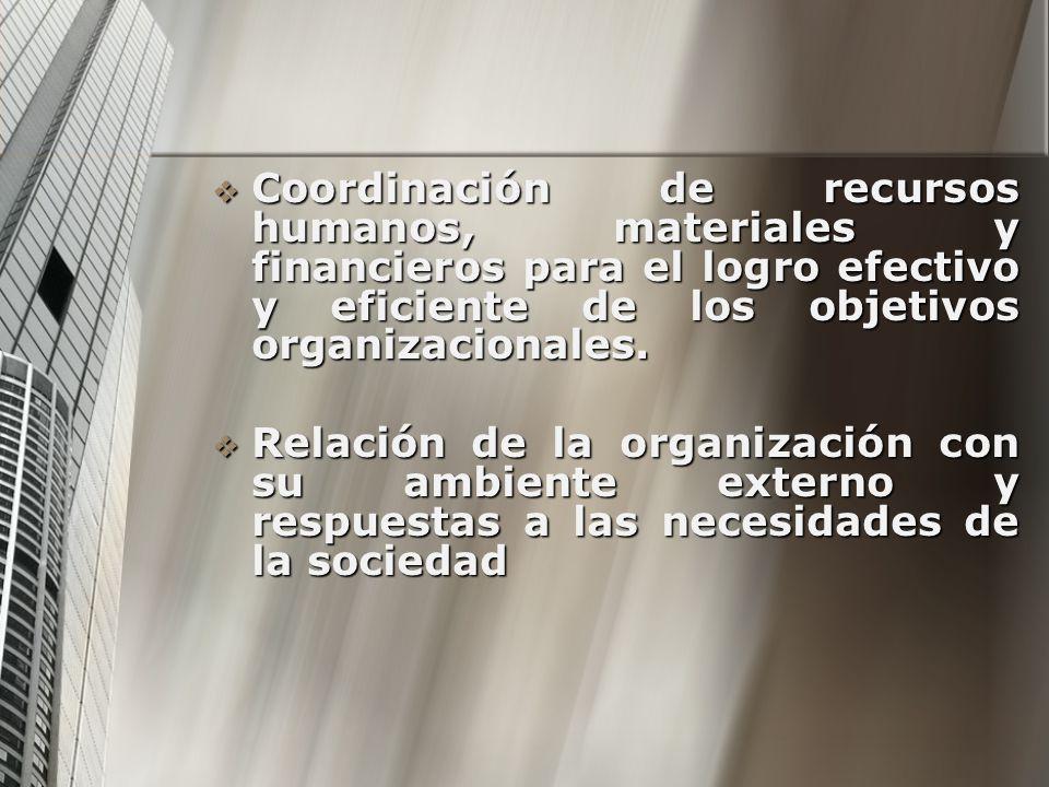 Coordinación de recursos humanos, materiales y financieros para el logro efectivo y eficiente de los objetivos organizacionales.