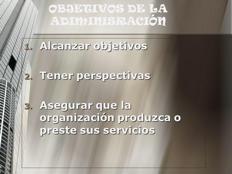 OBJETIVOS DE LA ADIMINISRACIÓN