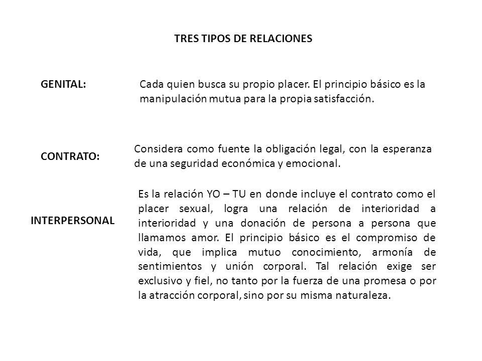 TRES TIPOS DE RELACIONES