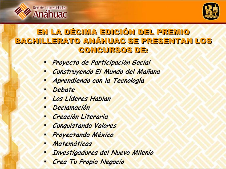 EN LA DÉCIMA EDICIÓN DEL PREMIO BACHILLERATO ANÁHUAC SE PRESENTAN LOS CONCURSOS DE: