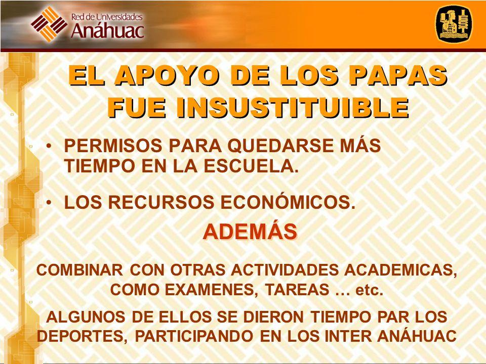 EL APOYO DE LOS PAPAS FUE INSUSTITUIBLE