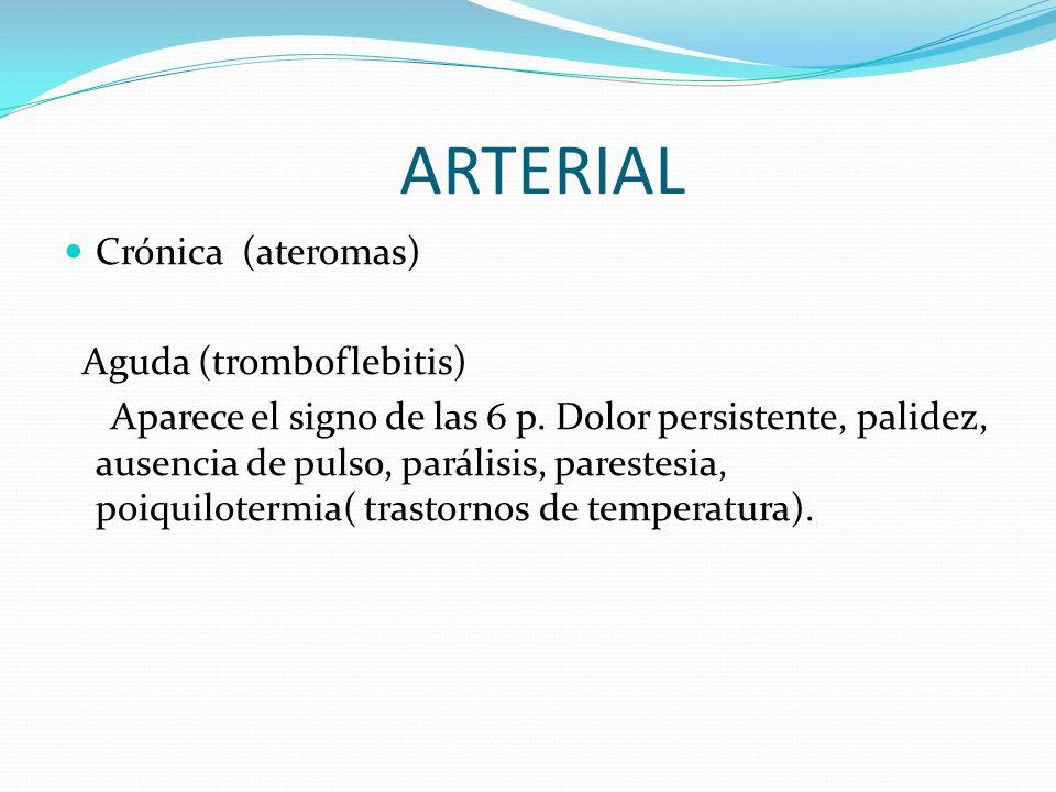 ARTERIAL Crónica (ateromas) Aguda (tromboflebitis)