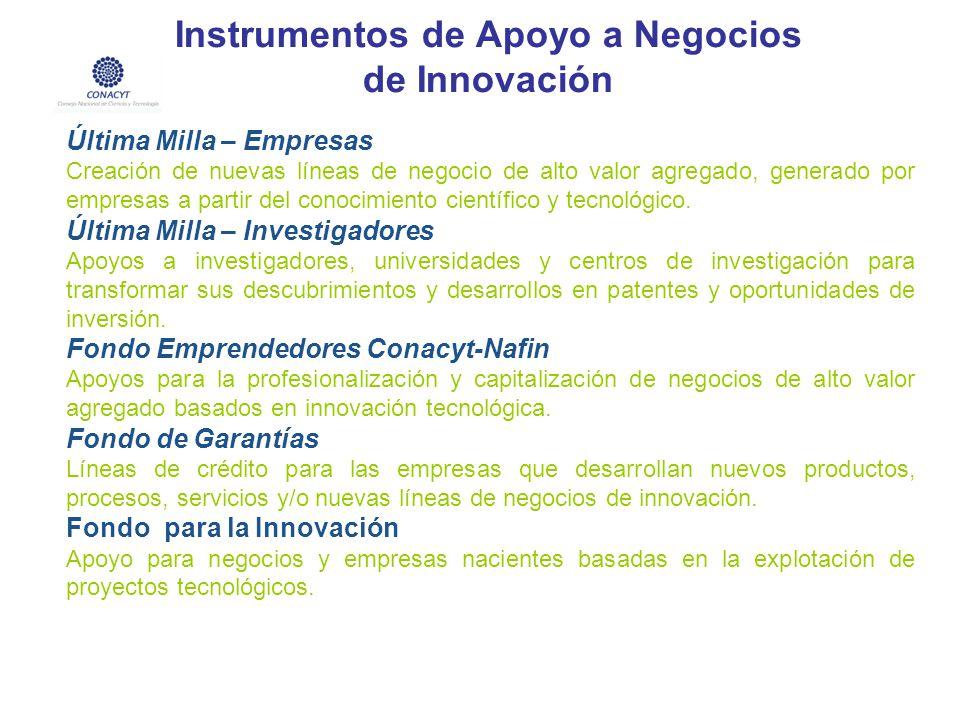 Instrumentos de Apoyo a Negocios de Innovación