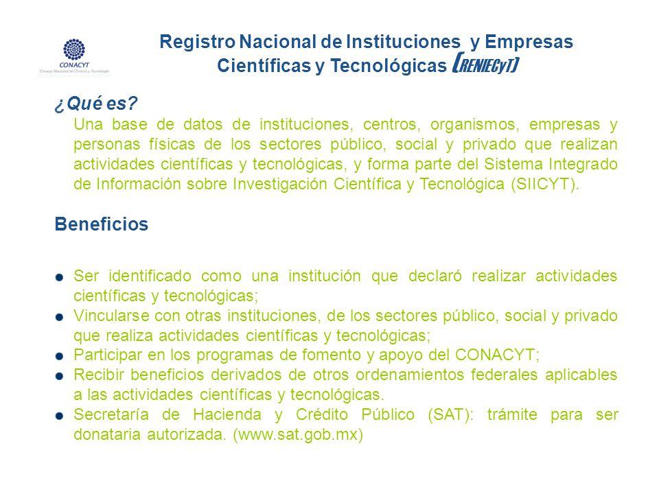 Registro Nacional de Instituciones y Empresas Científicas y Tecnológicas (RENIECyT)