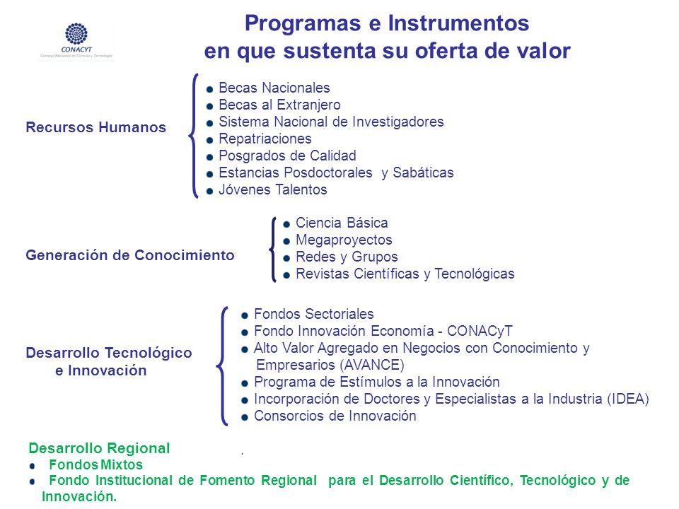 Programas e Instrumentos en que sustenta su oferta de valor