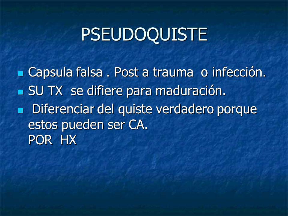 PSEUDOQUISTE Capsula falsa . Post a trauma o infección.
