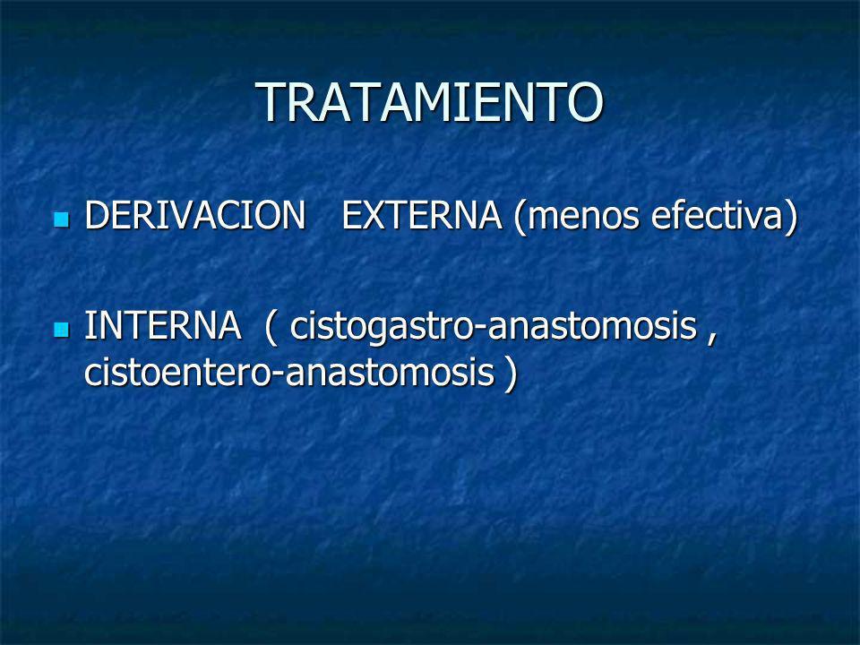 TRATAMIENTO DERIVACION EXTERNA (menos efectiva)
