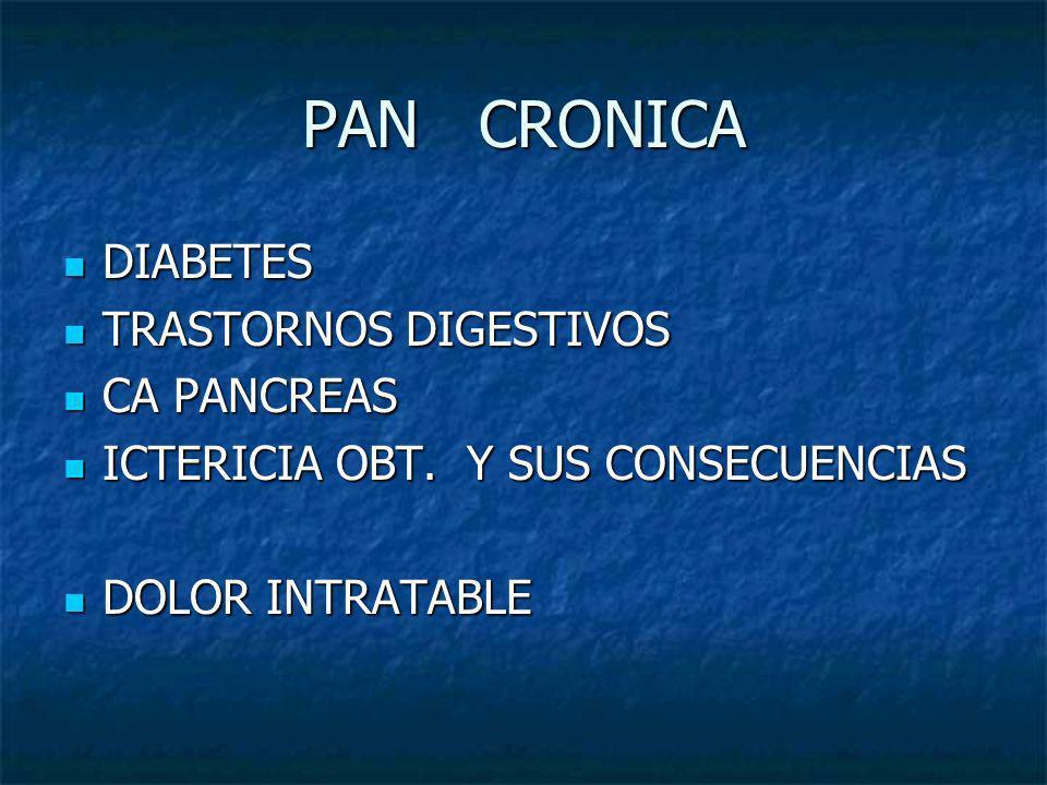 PAN CRONICA DIABETES TRASTORNOS DIGESTIVOS CA PANCREAS