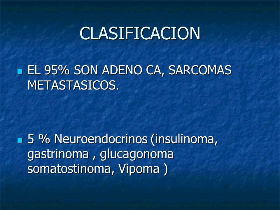 CLASIFICACION EL 95% SON ADENO CA, SARCOMAS METASTASICOS.