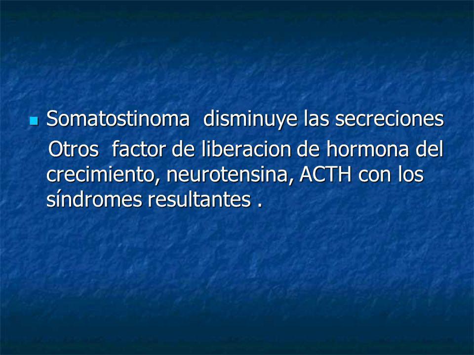 Somatostinoma disminuye las secreciones