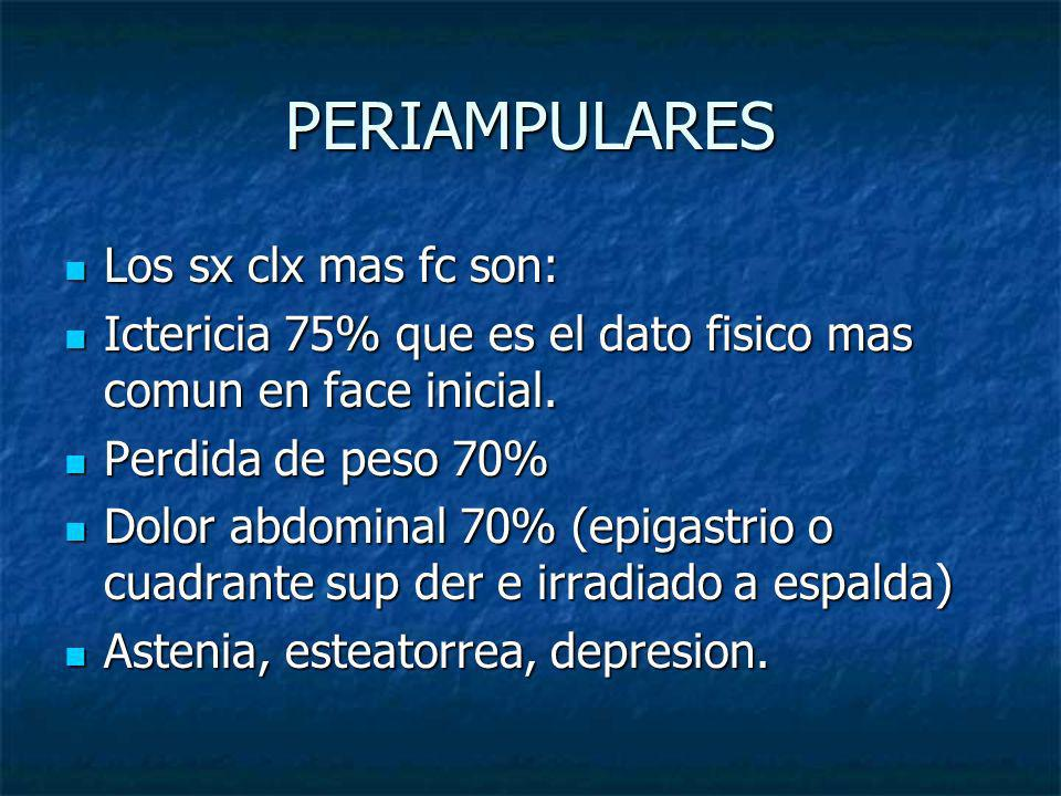 PERIAMPULARES Los sx clx mas fc son: