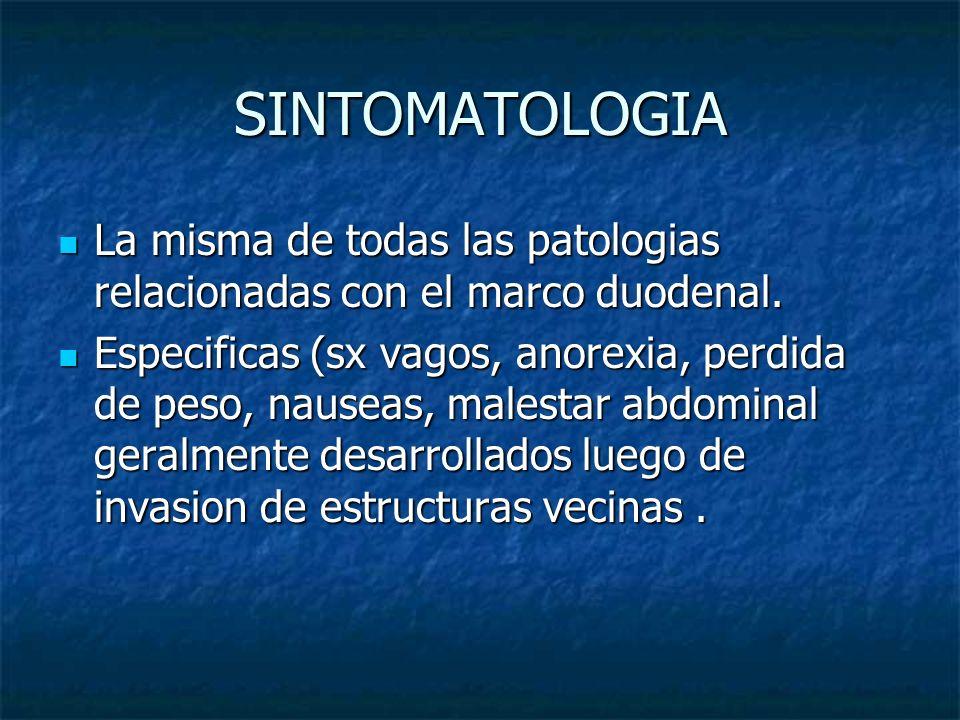 SINTOMATOLOGIA La misma de todas las patologias relacionadas con el marco duodenal.
