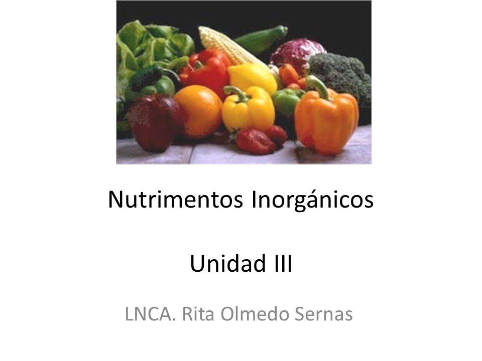 Nutrimentos Inorgánicos Unidad III