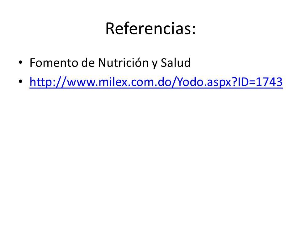Referencias: Fomento de Nutrición y Salud
