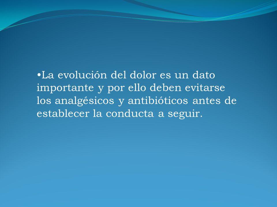 La evolución del dolor es un dato importante y por ello deben evitarse los analgésicos y antibióticos antes de establecer la conducta a seguir.