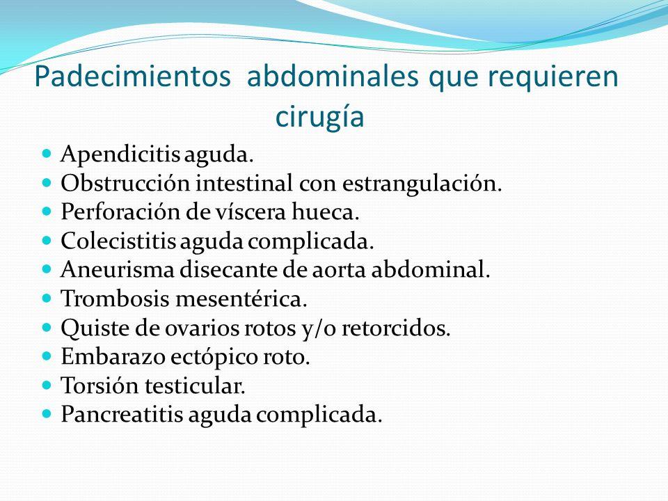 Padecimientos abdominales que requieren cirugía