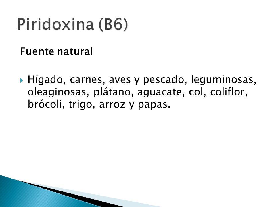 Piridoxina (B6) Fuente natural
