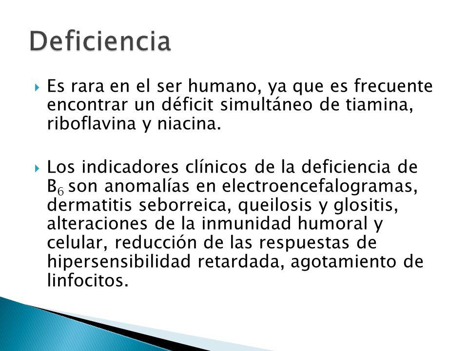 Deficiencia Es rara en el ser humano, ya que es frecuente encontrar un déficit simultáneo de tiamina, riboflavina y niacina.
