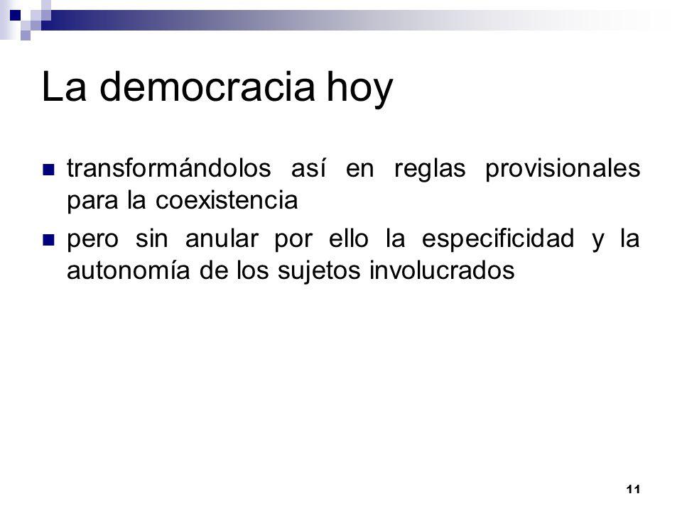 La democracia hoy transformándolos así en reglas provisionales para la coexistencia.
