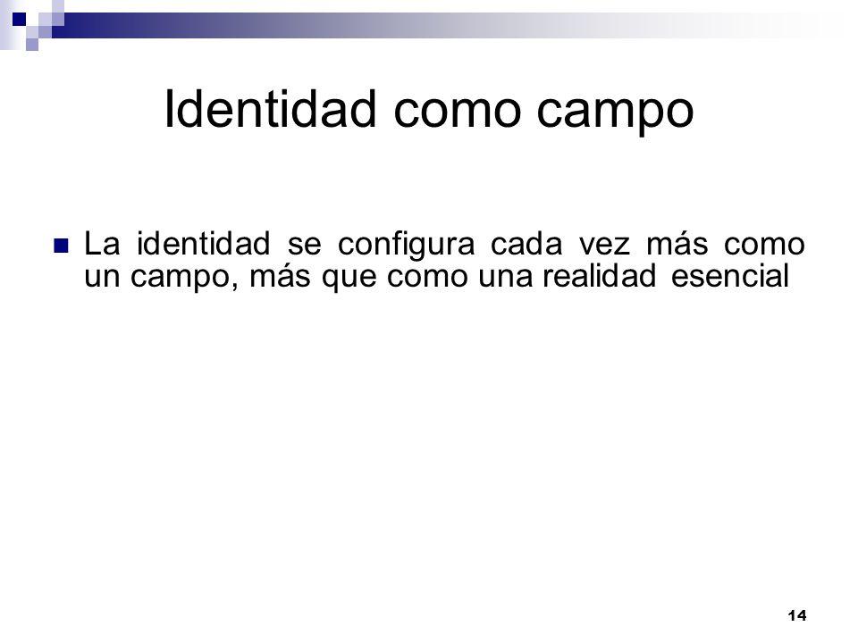 Identidad como campo La identidad se configura cada vez más como un campo, más que como una realidad esencial.