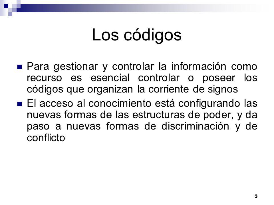 Los códigos Para gestionar y controlar la información como recurso es esencial controlar o poseer los códigos que organizan la corriente de signos.