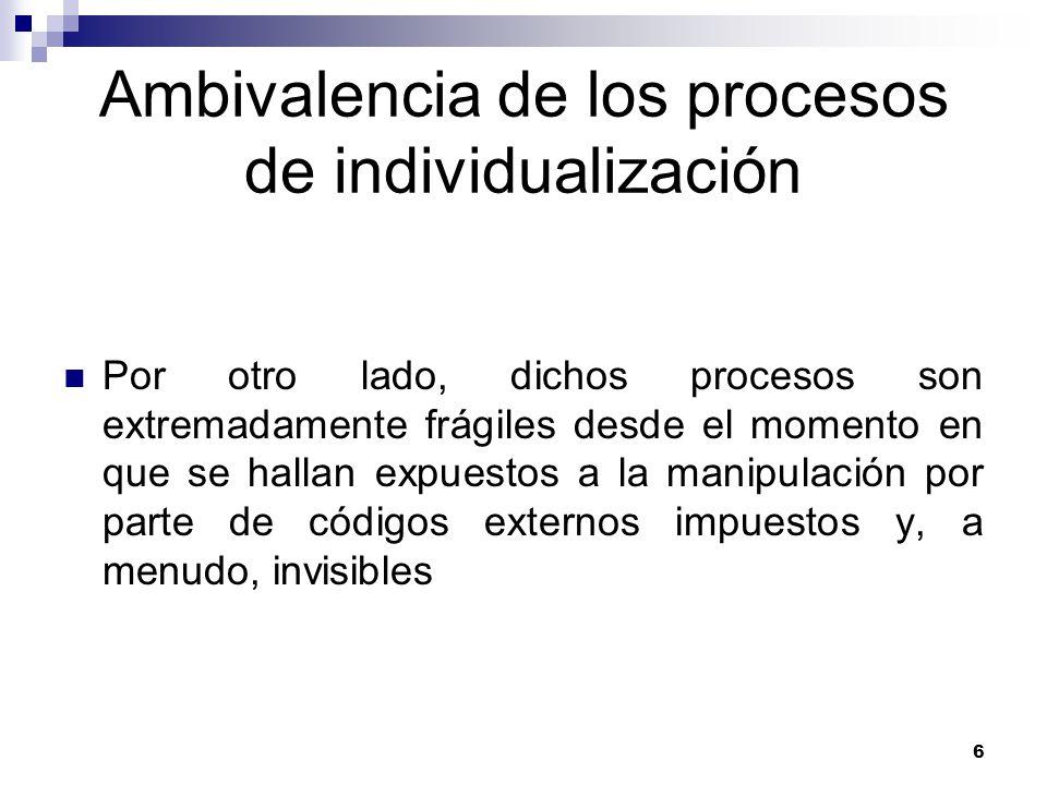 Ambivalencia de los procesos de individualización