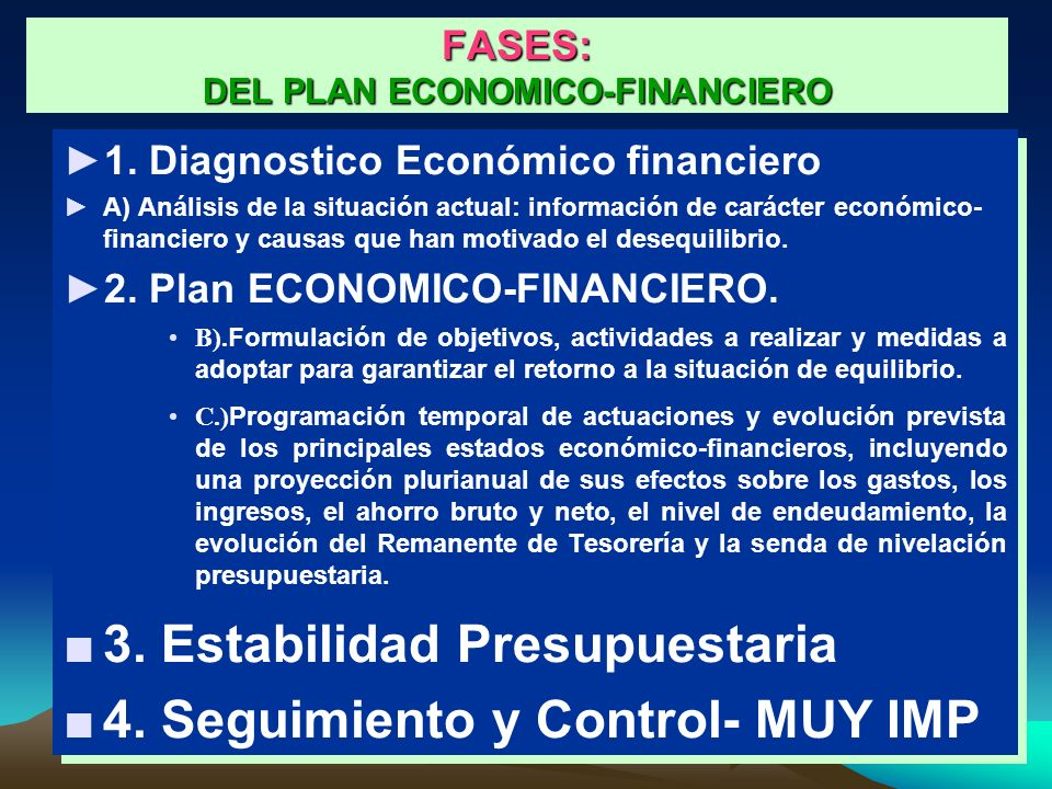 FASES: DEL PLAN ECONOMICO-FINANCIERO