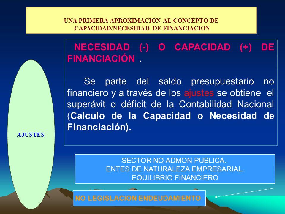 NECESIDAD (-) O CAPACIDAD (+) DE FINANCIACIÓN .