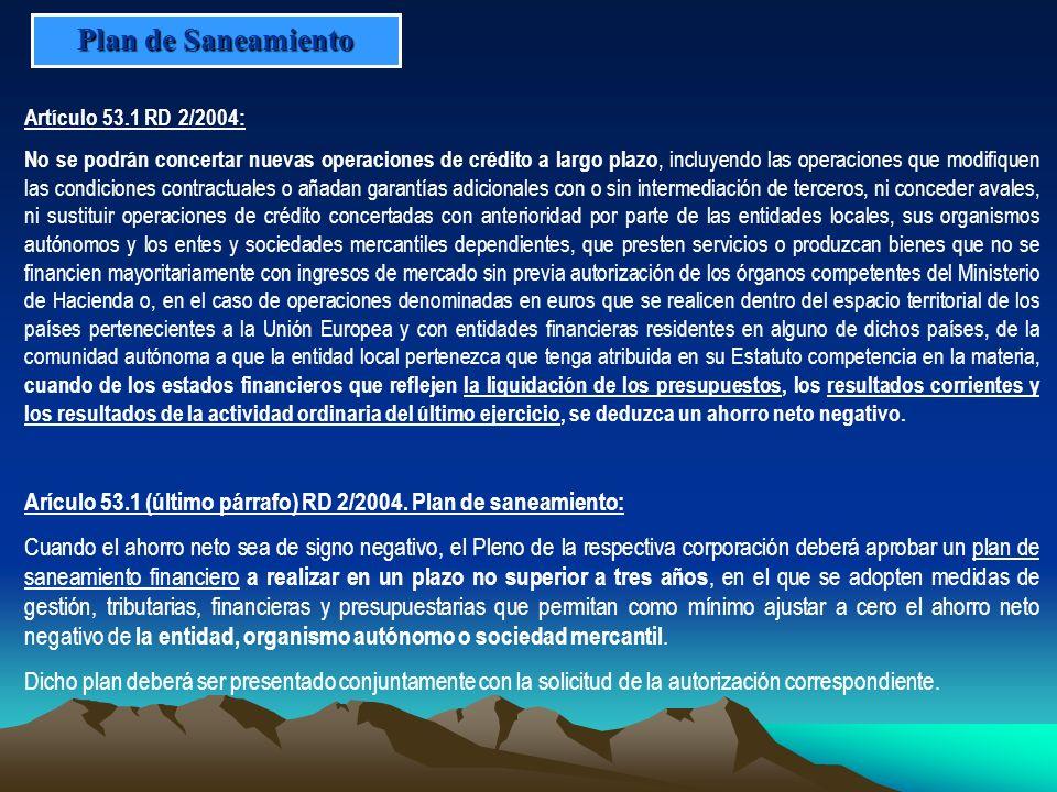 Plan de SaneamientoArtículo 53.1 RD 2/2004: