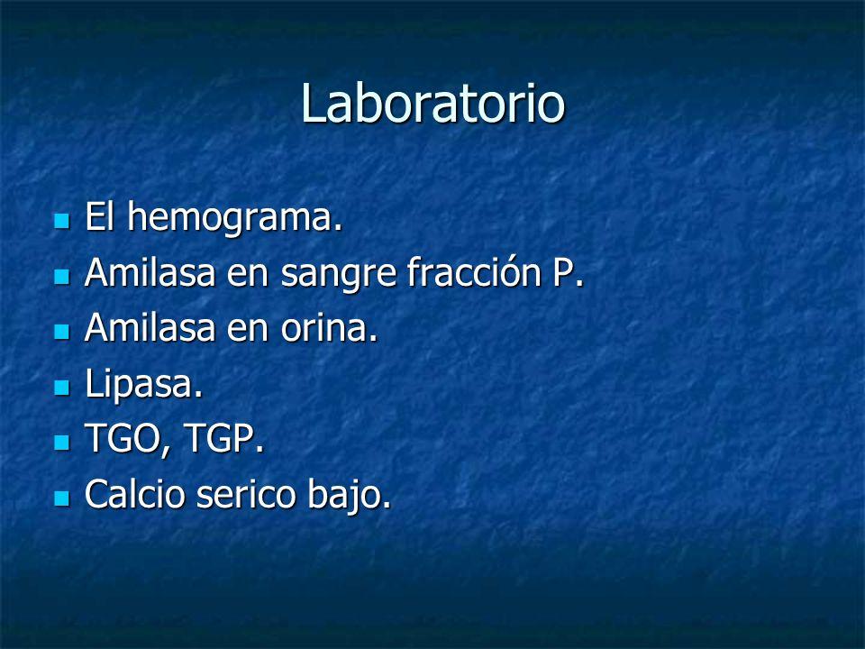 Laboratorio El hemograma. Amilasa en sangre fracción P.