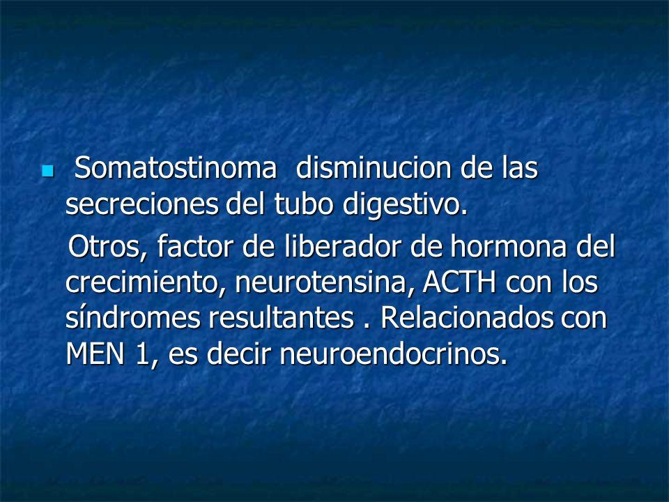 Somatostinoma disminucion de las secreciones del tubo digestivo.