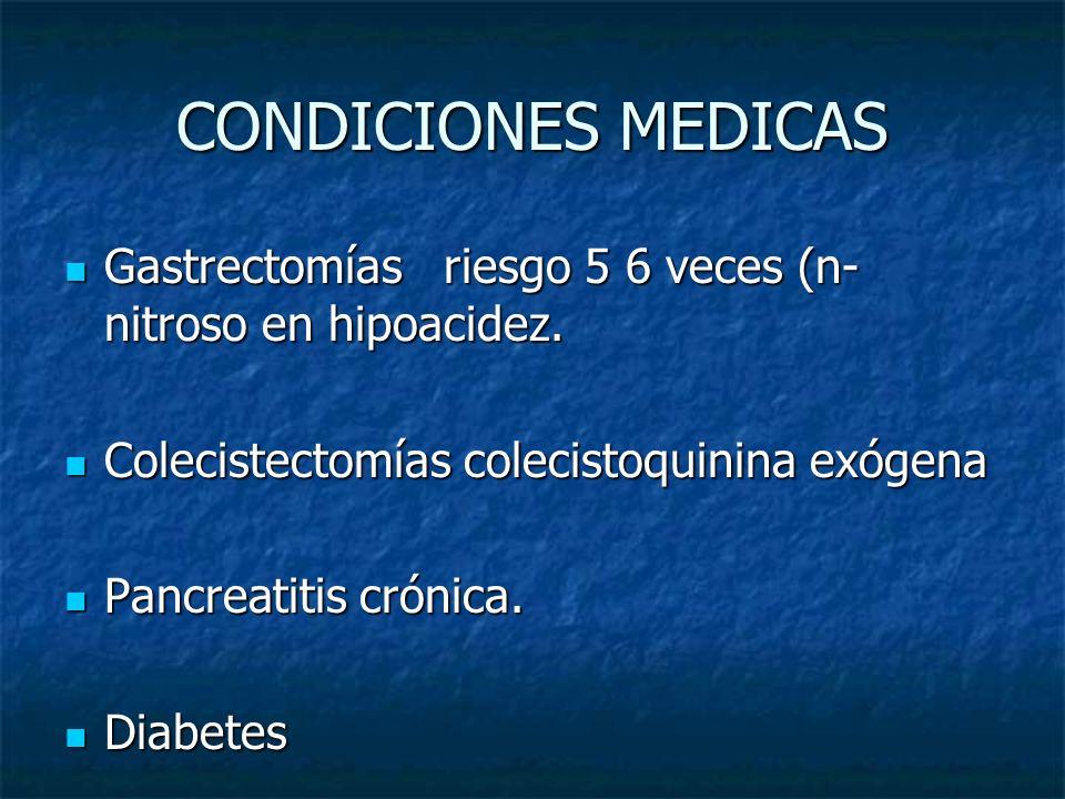 CONDICIONES MEDICAS Gastrectomías riesgo 5 6 veces (n-nitroso en hipoacidez. Colecistectomías colecistoquinina exógena.