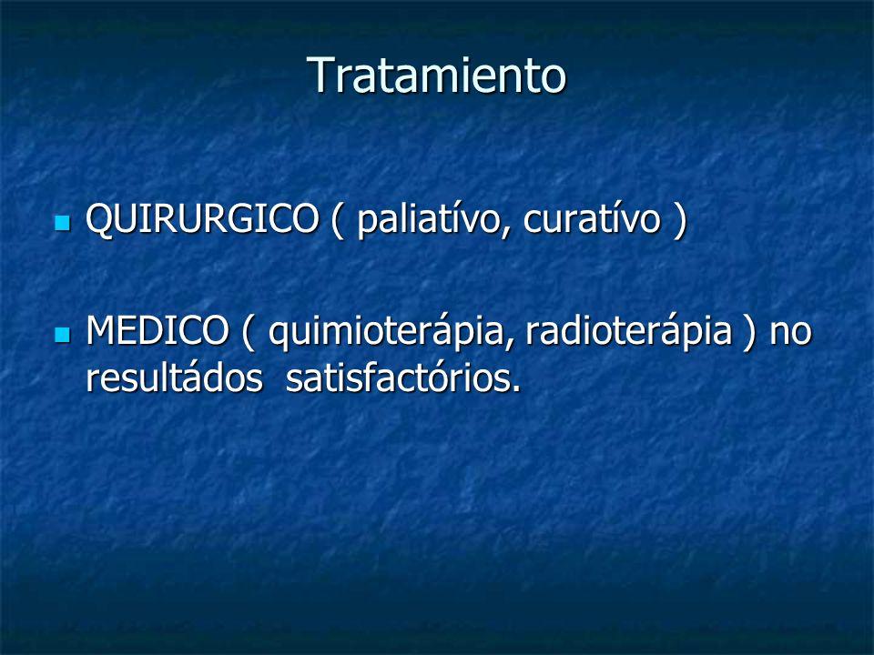 Tratamiento QUIRURGICO ( paliatívo, curatívo )