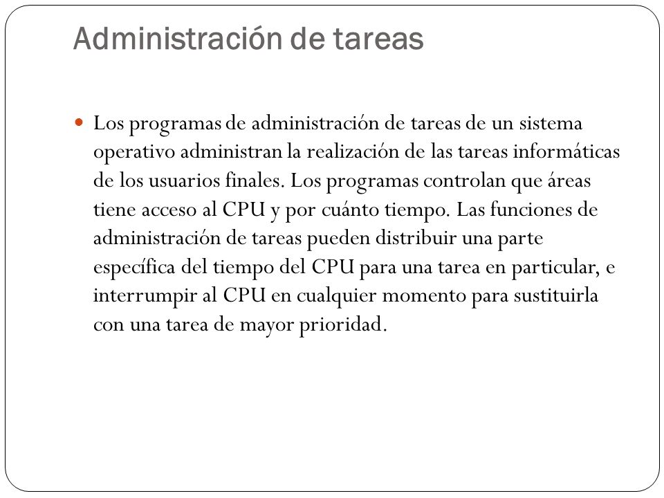 Administración de tareas