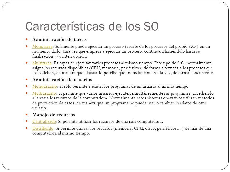 Características de los SO