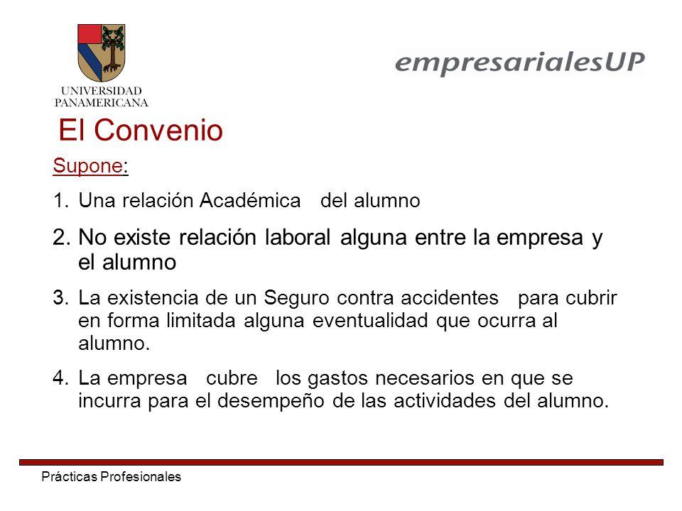 El Convenio Supone: Una relación Académica del alumno. No existe relación laboral alguna entre la empresa y el alumno.
