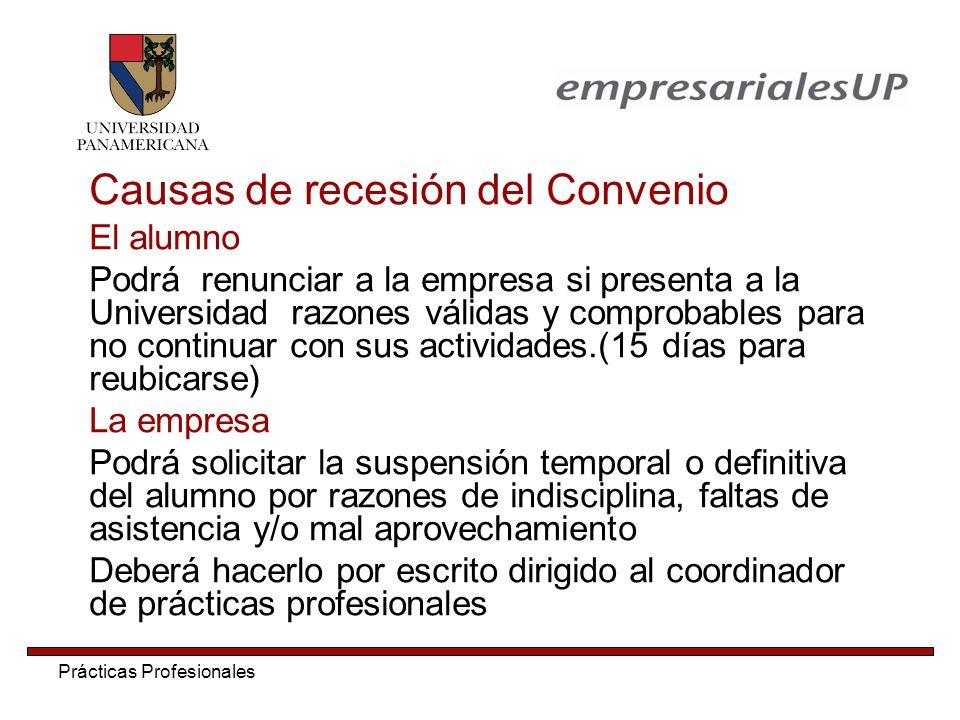Causas de recesión del Convenio