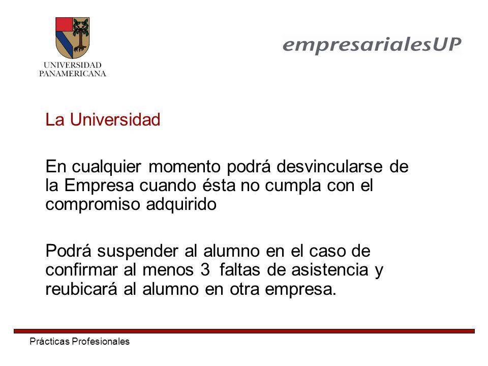 La Universidad En cualquier momento podrá desvincularse de la Empresa cuando ésta no cumpla con el compromiso adquirido.