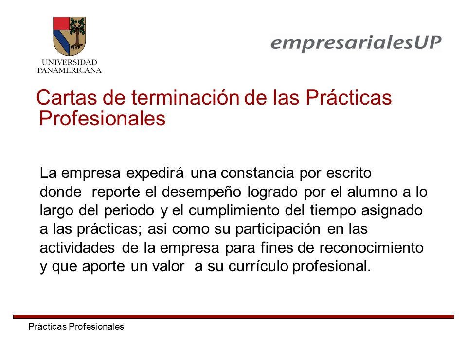 Cartas de terminación de las Prácticas Profesionales