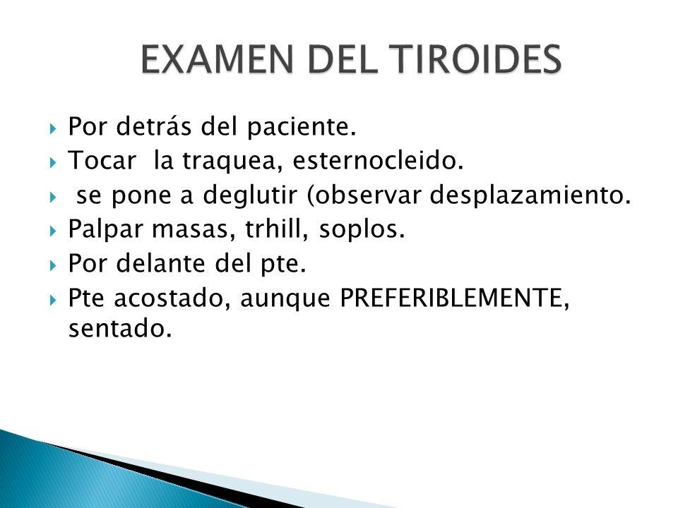 EXAMEN DEL TIROIDES Por detrás del paciente.