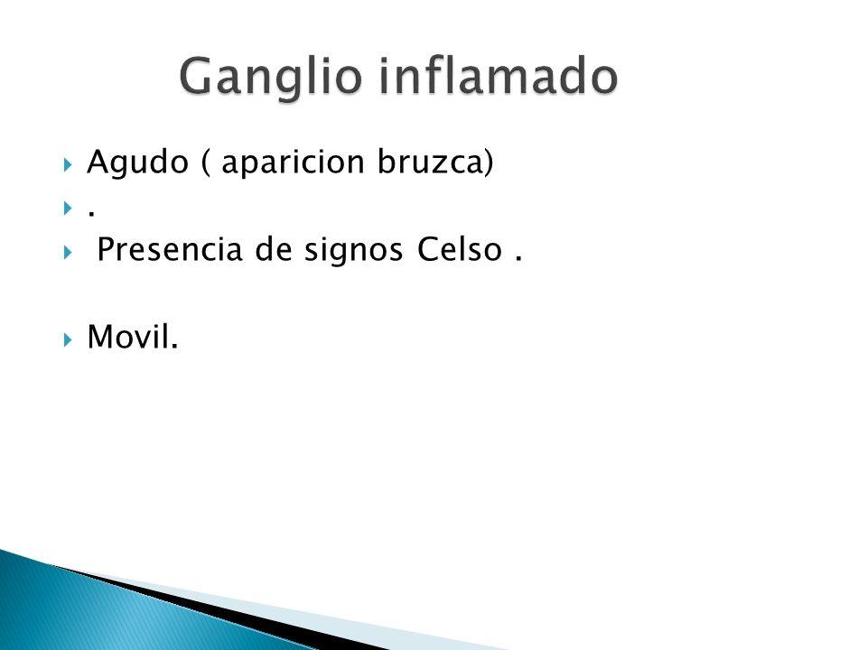 Ganglio inflamado Agudo ( aparicion bruzca) .