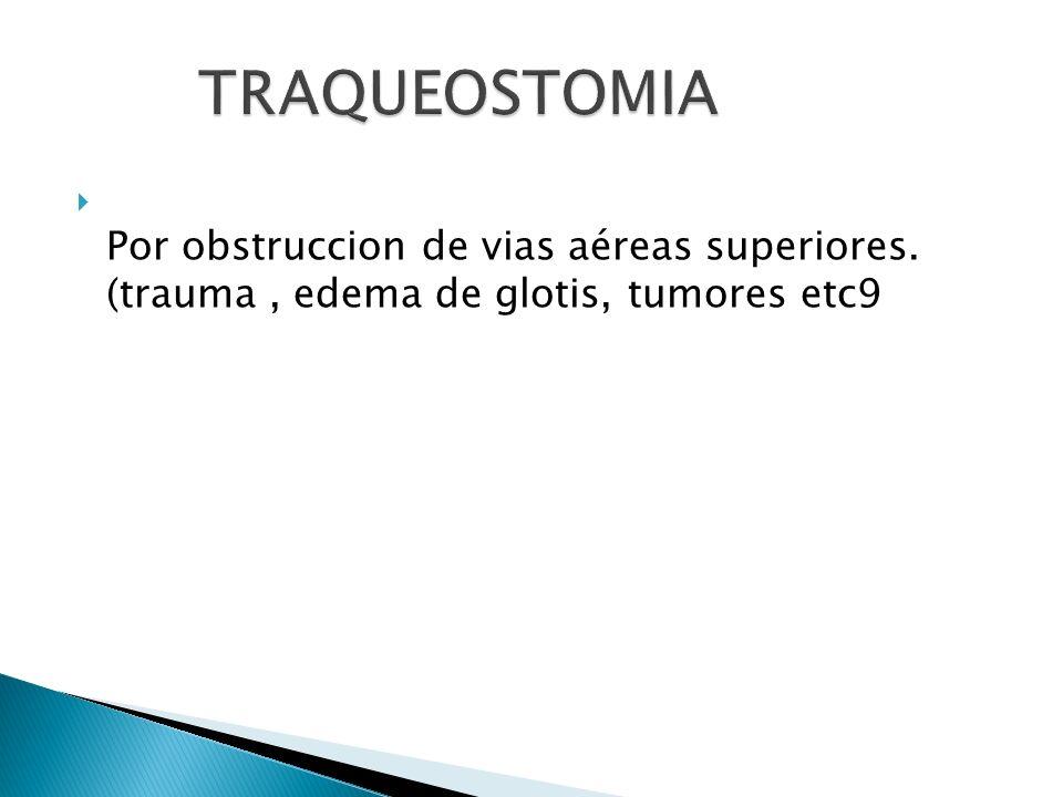 TRAQUEOSTOMIA Por obstruccion de vias aéreas superiores. (trauma , edema de glotis, tumores etc9