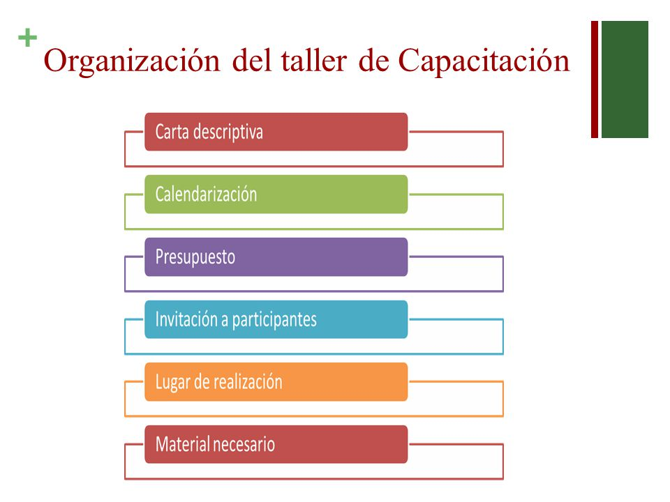 Organización del taller de Capacitación