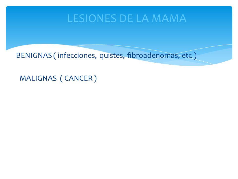 LESIONES DE LA MAMA BENIGNAS ( infecciones, quistes, fibroadenomas, etc ) MALIGNAS ( CANCER )