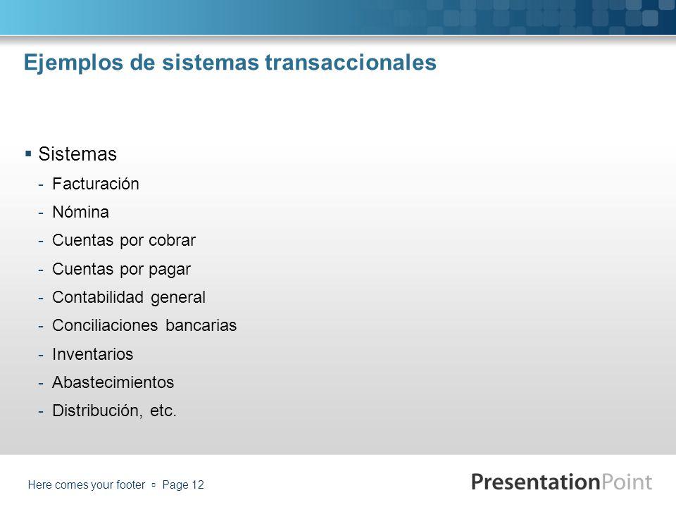 Ejemplos de sistemas transaccionales