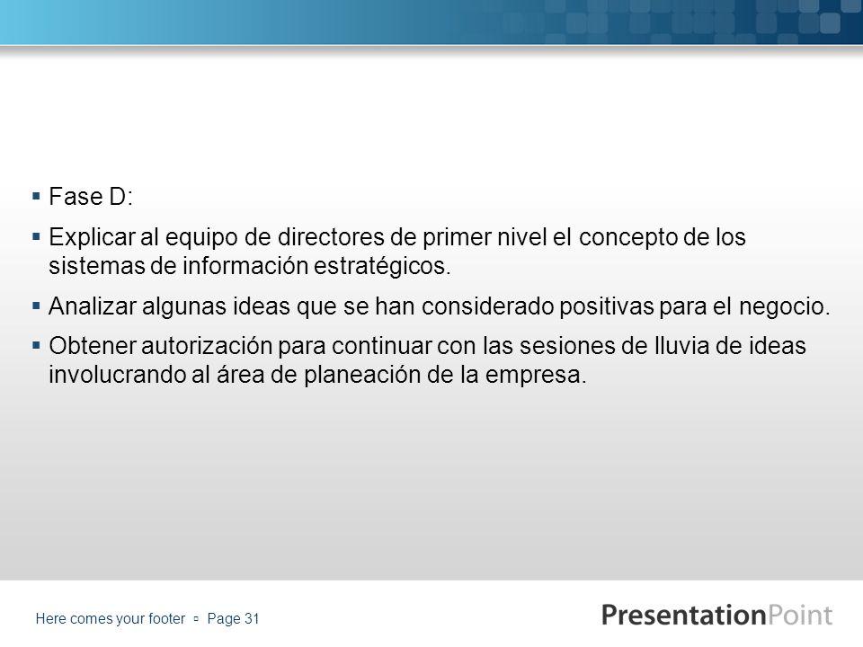 Fase D: Explicar al equipo de directores de primer nivel el concepto de los sistemas de información estratégicos.