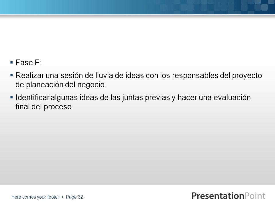 Fase E: Realizar una sesión de lluvia de ideas con los responsables del proyecto de planeación del negocio.