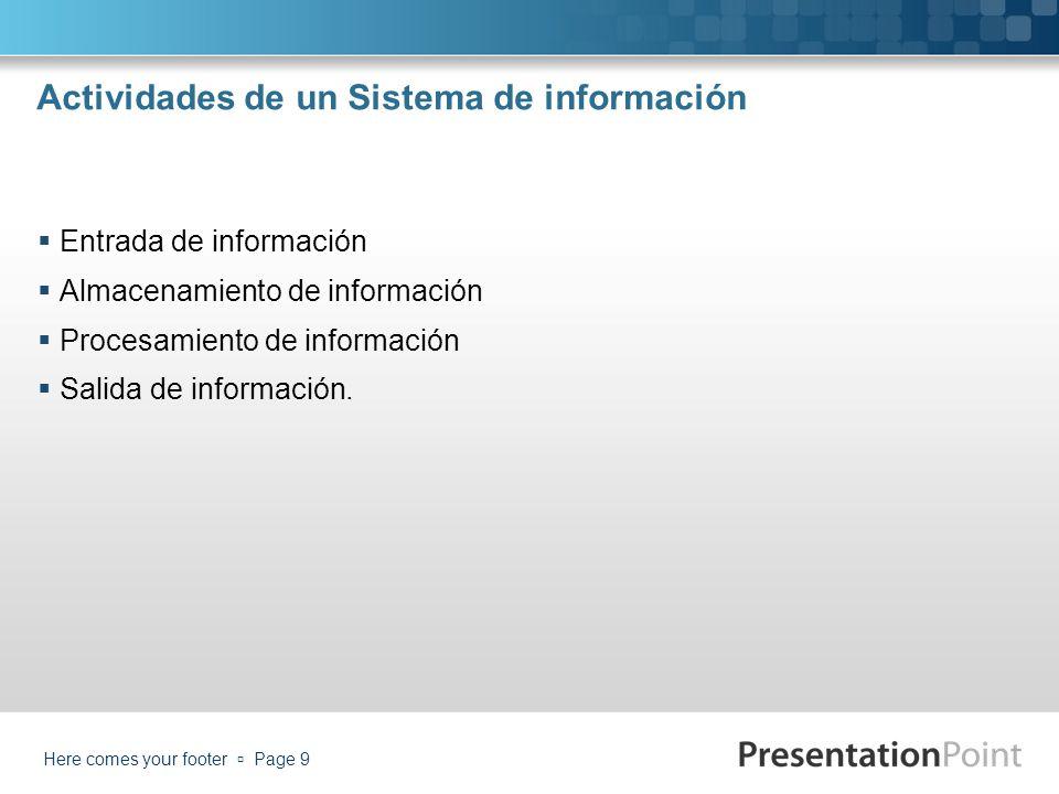 Actividades de un Sistema de información