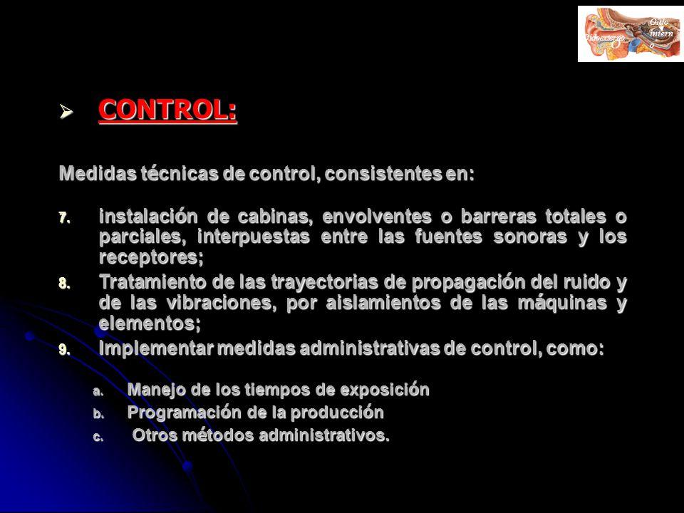 CONTROL: Medidas técnicas de control, consistentes en: