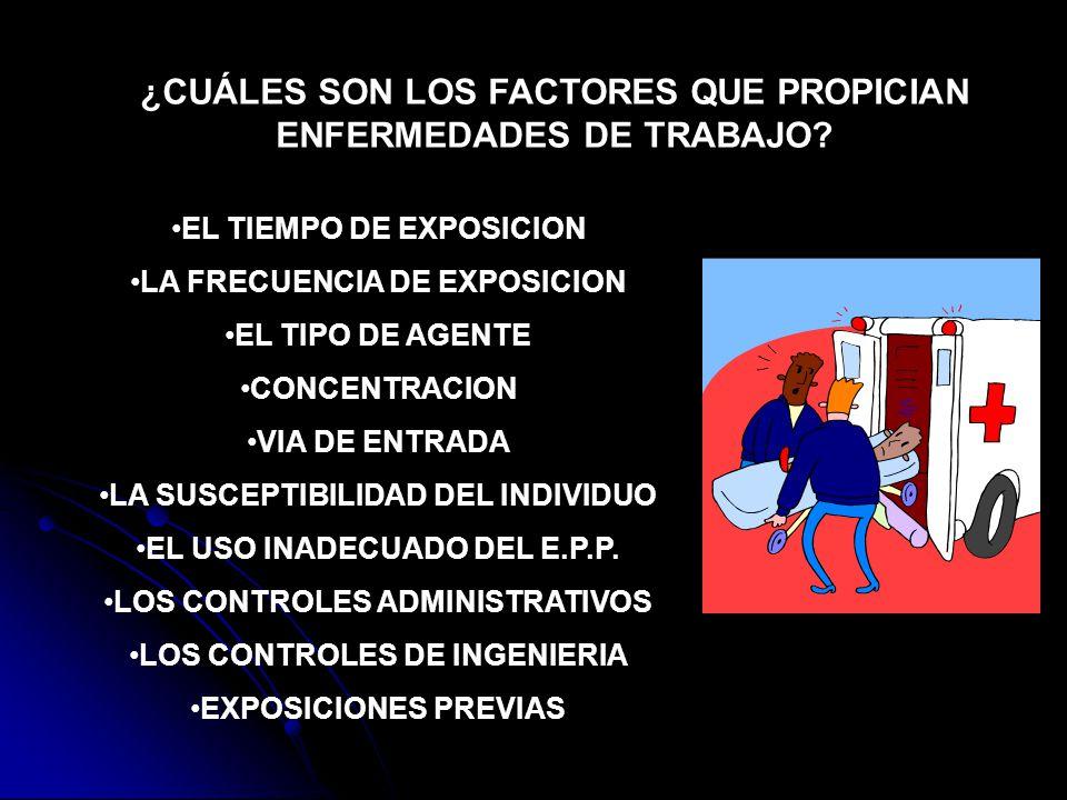 ¿CUÁLES SON LOS FACTORES QUE PROPICIAN ENFERMEDADES DE TRABAJO